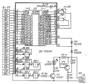 Оно позволяет проверить чистоту ПЗУ... таблице.  Принципиальная схема программатора приведена на рисунке...